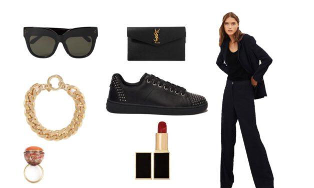 The woman's pantsuit to put in the suitcase